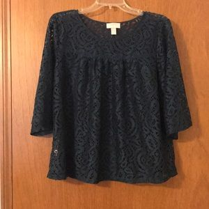 Loft outlet lace shirt EUC dark teal